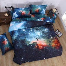 Blue Galaxy Print Cover Queen Size Duvet Set Bed Sheet Two Match Pillow Cases US