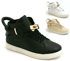 Womens Ankle Lace Up Gold Flat Hi-top Sneaker Shoes Boots Womens Trainers Size