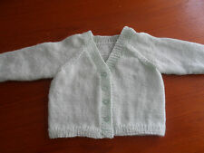 "hand knitted baby boy cardigan  10.25""- 18"" chest white blue 4ply wool"