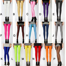 Women Neon Candy Color Shiny Bright Fluorescent Glow Stretch Leggings Slim Pants