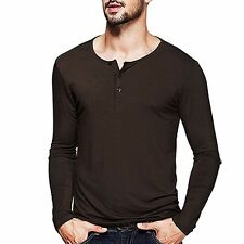 4 Colors Mens Henley T-shirt Simple Long Sleeve Solid Fitted Basic Tee M to 2XL