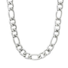 7mm Durable Solid Stainless Steel Figaro Curb Link Chain Necklace