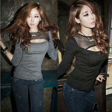 New Sexy Women Hollow Long Sleeve Trendy See-through Black Tulle Sheath T-shirts