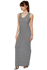Womens Black White Striped Racer Back Bodycon Sleeveless Long Maxi Ladies Dress