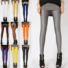 Women Leggings Neon Candy Shiny Bright Fluorescent Glow Stretch Jeggings Pants