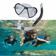 Adult Swimming Swim Diving Scuba Anti-Fog Goggles Mask & Snorkel Set Glass PVC