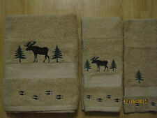 New MOOSE & TREES Tan 3 piece Towel Set Cabin Lodge Decor with or without Tracks