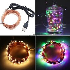 LED Copper Wire Starry String Lights with USB Cable for Home Outdoor Decoration
