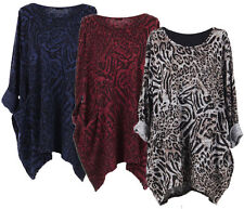New Ladies Womens Lagenlook Baggy Animal Leopard Print Top Jumper Plus Size12-24