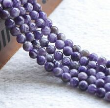 Natural Round Amethyst Charm Jewelry Loose Gemstone Stone Beads Strand 15""