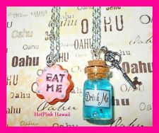 2pcs EAT ME Cookie DRINK ME Alice in Wonderland Charm Bottle BFF Necklace USA