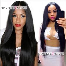 Women's Peruvian Remy Human Hair Lace Front Wigs Silky Straight Black Full Lace