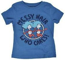 "NWT Dr. Seuss Thing 1 & Thing 2 - ""Messy Hair - Who Cares?"" Tee: Boys 3T & 4T"