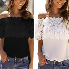 Womens Off Shoulder Lace Chiffon Blouse Ladies Strapless Casual Tee Shirt Tops