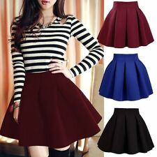 Sexy Mini Short High Waist Skater Skirt Jersey Plain Flared Pleated A-Line DreMR