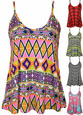 New Plus Size Womens Printed Strappy Sleeveless Ladies Swing Cami Vest Top 16-26
