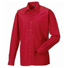 New RUSSELL COLLECTION Long Sleeve 100% Cotton Poplin Shirt in 5 colours S - 4XL