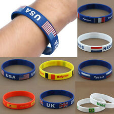 Soft Unisex Country Flag Silicone Bracelet Rubber Sport Wristband Cuff Cheer New