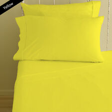 YELLOW SOLID BED SHEET SET 800 TC 100% EGYPTIAN COTTON SELECT YOUR SIZE