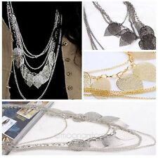 Bohemian Vintage Leaves Multi-layer Long Necklace Pendant Chain Fashion Jewelry