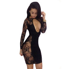 Sexy Club Wear Cut Out Back Long Sleeve Bodycon Bandage Evening Party Dress