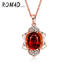 Womens Beautiful 18K Rose Gold Plated Austrian Crystal Flower Pendant Necklace