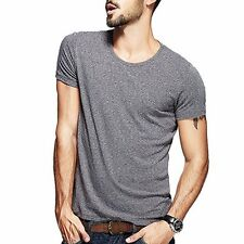 Unique Mens Casual T-Shirt Round Collar Short Sleeve Solid Purity 4 Colors M~2XL