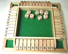 SHUT THE BOX.  WOODEN.  UPTO FOUR PLAYERS.  BOXED.  NEW.