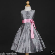 Silver Christmas Holiday Party Pageant Taffeta Wedding Flower Girl Dress 4 6 8