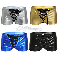 Sexy Mens Smooth Lace up Boxer Briefs Shorts Swimwear Underpants Shiny Underwear