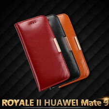 KLD ROYALE Holster Genuine Leather Card Flip Case Cover Skin For Huawei Mate 9