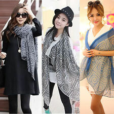 Women Lady Vintage Long Soft Cotton Voile Printed Scarves Shawl Wrap Scarf Stole