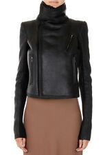 RICK OWENS New women Black Lamb Fur Leather BIKER Jacket Coat