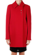 BALENCIAGA Women Red Wool Coat Peacoat Made in Italy With Pin NWT