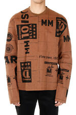 MARTIN MARGIELA MM10 Men Brown Printed Long Sleeved T-Shirt Made in Italy New