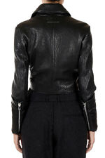 MAISON MARTIN MARGIELA 6 Women Black Grained Leather Cropped Biker Jacket New