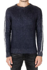 N21 New Men Round Neck Wool Mohair Sweater blu Jumper Made in Italy NWT