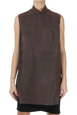 RICK OWENS New Women Brown Leather Sleeveless TURTLE Top Tunic Made Italy