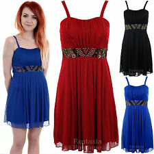 Ladies Strap Skater Bustier Boobtube Chiffon Lined Beaded Belt Womens Dress 8-14