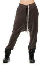 RICK OWENS Woman Dark Dust CROPPED Chenille Trousers Pants Made in Italy