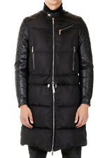 DSQUARED2 New Men Coat Black Jacket Leather Details Down Padded NWT