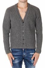 DSQUARED2 New Men grey V neck Wool alpaca Sweater jumper Cardigan Made In Italy