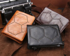 Genuine Leather Card Coin Holder Purse Bifold Trifold Short Wallet Black Brown