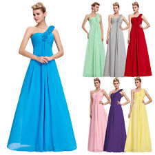 Long One Shoulder Chiffon Formal Party Evening Cocktail Bridesmaid Maxi Dress