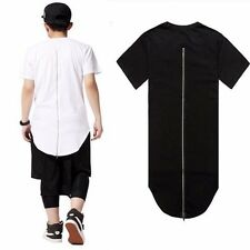 Streetwear Men extented back tails swag funny t shirts with back zip Hip hop