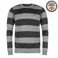 Lee Cooper Stripe Crew Neck Knit Jumper Mens Grey/Charcoal Sweater Pullover Top