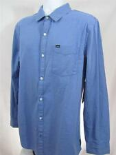 Mens new size 2XL Hurley slim shirt Squared blue button down long sleeve nwt