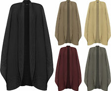 Womens Plus Cable Knitted Poncho Cape Top Ladies Plain Wrap Shawl Cardigan 10-28