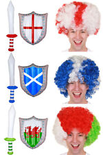 COUNTRY FLAG AFRO, INFLATABLE SWORD AND SHIELD SET SPORTS SUPPORTERS FANCY DRESS