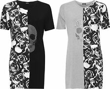 Plus Womens Split Print T-Shirt Mini Dress Top Ladies Diamante Skull Roses New